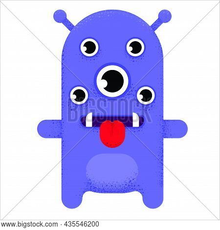 Multi-eyed Cute Cartoon Monster. Purple Alien With Many Eyes, Sharp Teeth, Thirsty Tongue And Head A