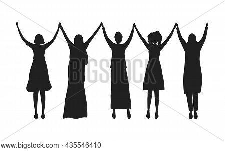 Women Holding Hands. Black Silhouettes Of Women. International Women's Day Concept. Women's Communit