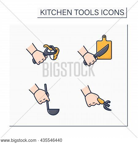 Kitchen Tools Color Icons Set. Cooking Utensils. Cutting Board, Can Opener, Peeler, Ladle. Kitchen E