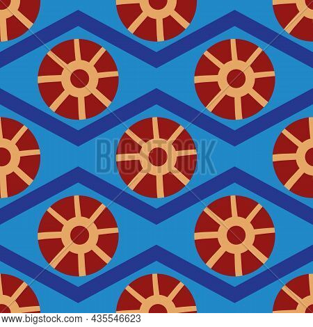 Abstract Stylized Sun And Waves Seamless Vector Pattern Background. Historical Ancient Egypt Inspire