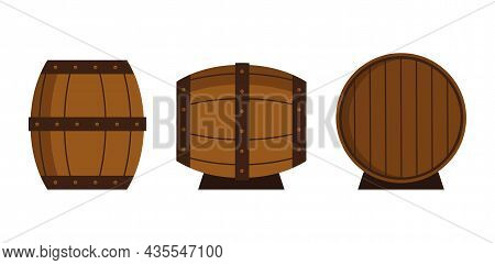 Set Of Different Barrels Isolated On White Background. A Wooden Barrels For Storing Alcoholic Bevera