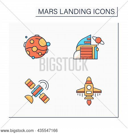 Mars Landing Color Icons Set. Uninhabited Planet. Satellite, Space Center, Spaceship, Mars. Cosmos C