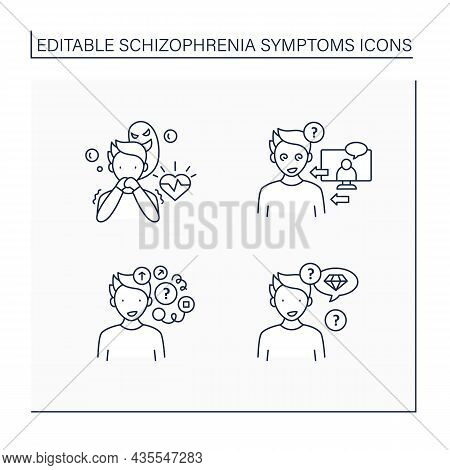 Schizophrenia Symptoms Line Icons Set. Reference, Persecution Delusions, Loose Associations, Neologi