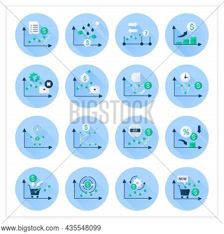 Economic Recovery Flat Icons Set. Economy Variations. Growth Period. Business Concept. 3d Vector Ill
