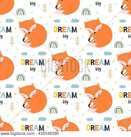 Vector Childrens Illustration, Print With Cute Fox In Scandinavian Style On White Background, Seamle