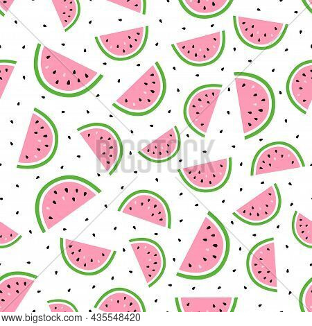 Vector Seamless Pattern With Watermelon Slices And Seeds On White, Colored Fruit Background