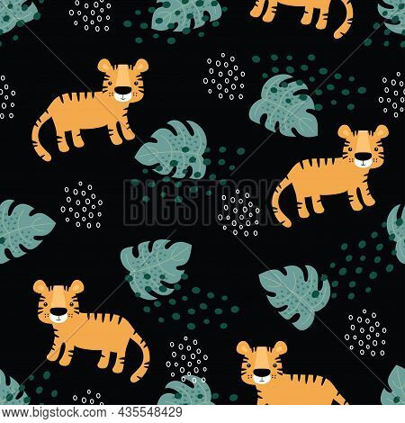 Tigers Pattern With Tropical Leaves, Vector Seamless Texture