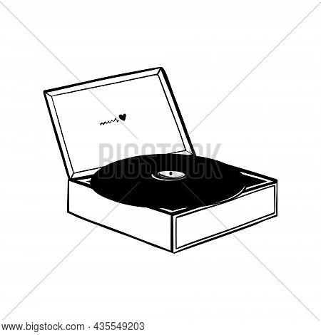 Retro Vinyl Record Player, Doodle Vector Cartoon