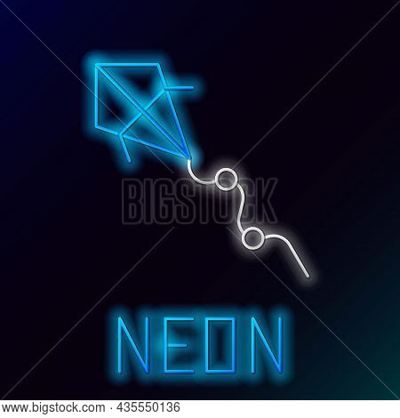 Glowing Neon Line Kite Icon Isolated On Black Background. Colorful Outline Concept. Vector