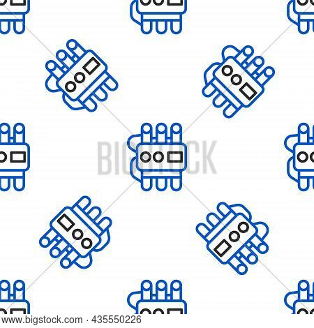 Line Detonate Dynamite Bomb Stick And Timer Clock Icon Isolated Seamless Pattern On White Background