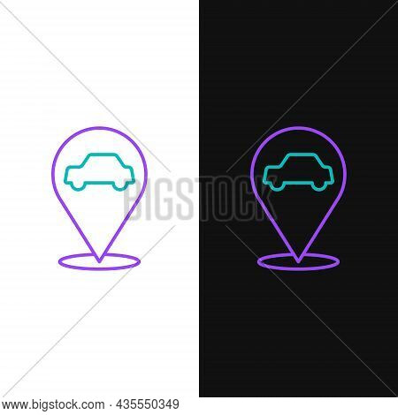 Line Location With Car Service Icon Isolated On White And Black Background. Auto Mechanic Service. R