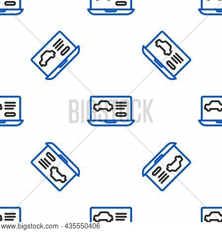 Line Hardware Diagnostics Condition Of Car Icon Isolated Seamless Pattern On White Background. Car S