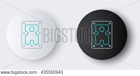 Line Hard Disk Drive Hdd Icon Isolated On Grey Background. Colorful Outline Concept. Vector