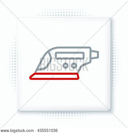 Line Electric Iron Icon Isolated On White Background. Steam Iron. Colorful Outline Concept. Vector