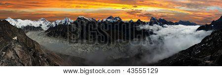 panoramic view of Everest, Lhotse, Cho Oyu and Ngozumba glacier
