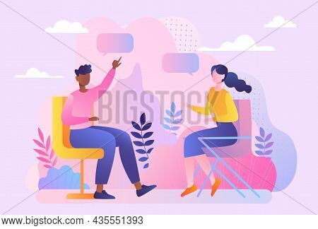 Man And Girl Talking. Romantic Date, International. Friends Tell Each Other News, Discuss Problems,