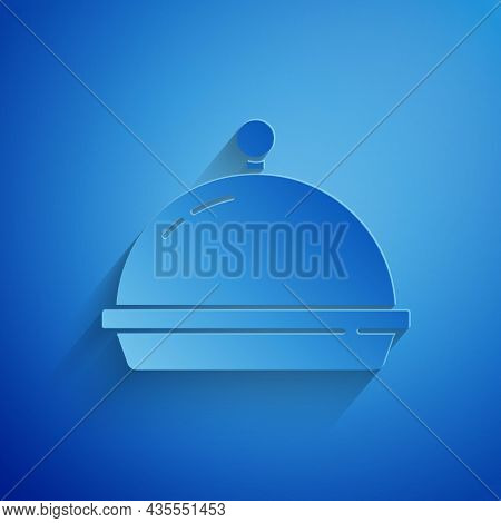 Paper Cut Covered With A Tray Of Food Icon Isolated On Blue Background. Tray And Lid. Restaurant Clo