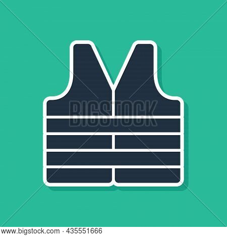 Blue Life Jacket Icon Isolated On Green Background. Life Vest Icon. Extreme Sport. Sport Equipment.