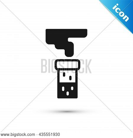 Grey Test Tube And Flask Chemical Laboratory Test Icon Isolated On White Background. Laboratory Glas