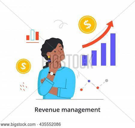 Revenue Management Concept. Woman Studies Stock Market Statistics And Thinks Where To Invest Money M