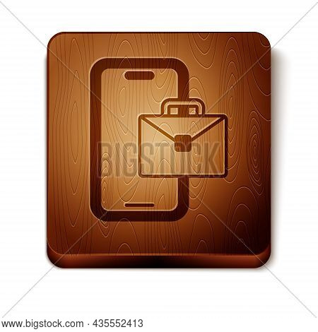 Brown Freelancer Icon Isolated On White Background. Freelancer Man Working On Laptop At His House. O
