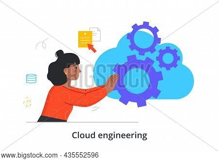 Cloud Engineering. Woman Sets Up Digital Server For Storing And Transmitting Data Over Internet. Lau