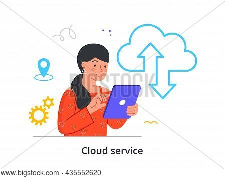 Cloud Service Concept. Woman Holds Tablet And Transmits Information Using Cloud Data Storage. Online