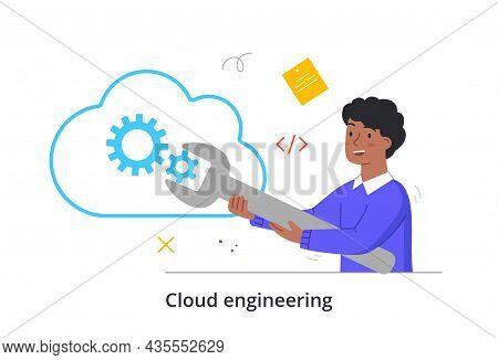 Cloud Engineering Concept. Man With Wrench Sets Up Data Warehouse. Employee Transmits Information Vi