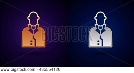 Gold And Silver Realtor Icon Isolated On Black Background. Buying House. Vector