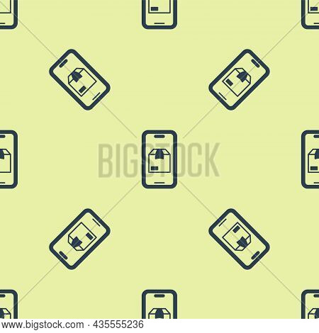 Blue Mobile Smart Phone With App Delivery Tracking Icon Isolated Seamless Pattern On Yellow Backgrou