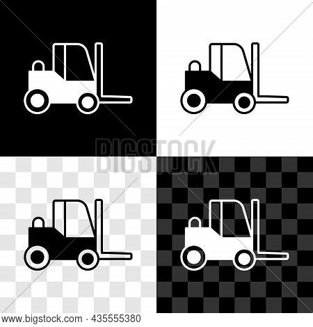 Set Forklift Truck Icon Isolated On Black And White, Transparent Background. Fork Loader And Cardboa