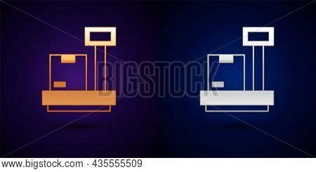 Gold And Silver Scale With Cardboard Box Icon Isolated On Black Background. Logistic And Delivery. W