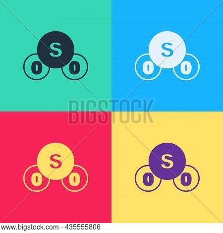 Pop Art Sulfur Dioxide So2 Gas Molecule Icon Isolated On Color Background. Structural Chemical Formu