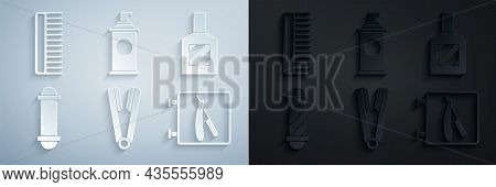 Set Curling Iron For Hair, Aftershave, Classic Barber Shop Pole, Barbershop With Razor, Shaving Gel