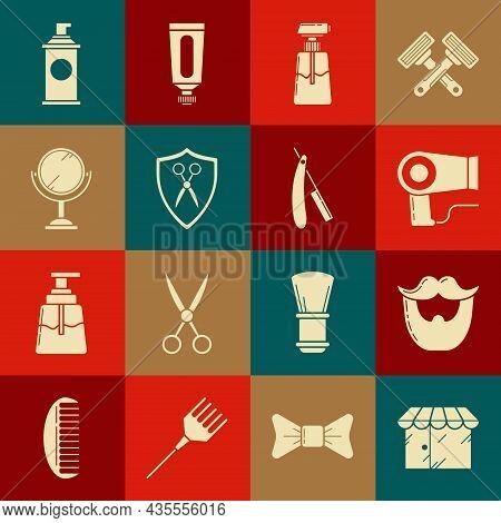 Set Barbershop Building, Mustache And Beard, Hair Dryer, Cream Or Lotion Cosmetic Tube, Scissors Hai
