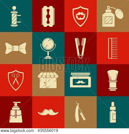 Set Glass Bottle With A Pipette, Shaving Brush, Hairbrush, Mustache And Beard On Shield, Hand Mirror