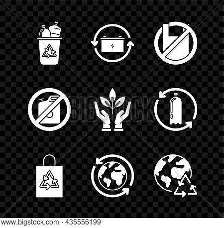 Set Recycle Bin With Recycle Symbol, Battery, Say No To Plastic Bags Poster, Plastic, Planet Earth A