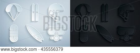 Set Surfboard, Helmet, Climber Rope, Diving Mask, Ski And Sticks And Parachute Icon. Vector