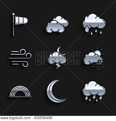 Set Storm, Moon And Stars, Cloud With Rain, Windy Weather, Rainbow Clouds, And Cone Meteorology Wind
