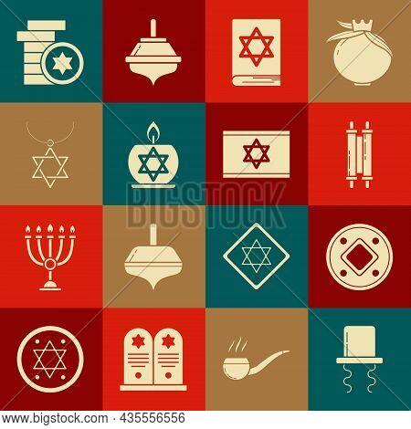 Set Orthodox Jewish Hat With Sidelocks, Jewish Coin, Torah Scroll, Torah Book, Burning Candle Candle