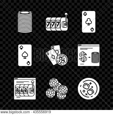 Set Casino Chips, Slot Machine With Lucky Sevens Jackpot, Playing Card Clubs Symbol, Online Slot, Gl