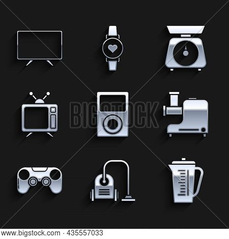 Set Music Player, Vacuum Cleaner, Measuring Cup, Kitchen Meat Grinder, Gamepad, Television, Scales A