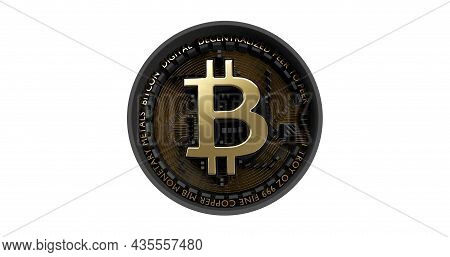 Black Bitcoin On The White Background, Isolated Baground, Bad Btc, Dead Bitcoin 3d Render