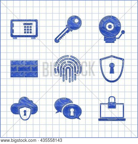 Set Fingerprint, Protection Of Personal Data, Laptop And Lock, Shield With Keyhole, Cloud Shield, Br