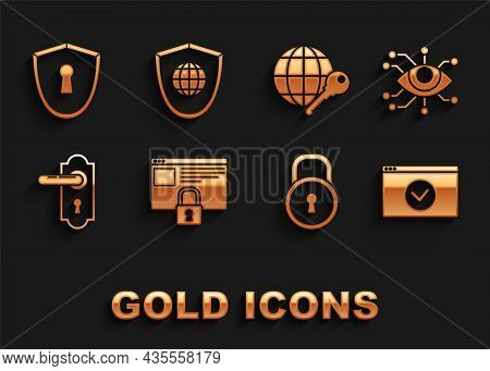 Set Secure Your Site With Https, Ssl, Eye Scan, Lock, Door Handle, Globe Key, Shield Keyhole And Wor