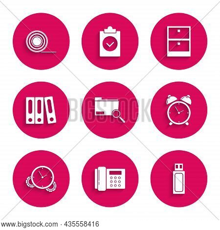 Set Search Concept With Folder, Telephone, Usb Flash Drive, Alarm Clock, Time Management, Office Fol