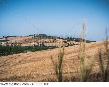 Rolling Hills Of Tuscany Near Montalcino, Italy In Late Summer