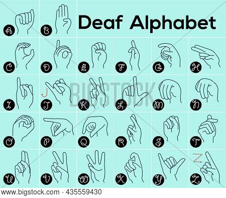 Deaf Alphabet, Vector Illustration Of Designation Of English Letters With Hands, International Abc,