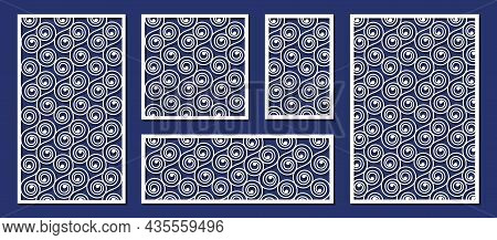 Abstract Panels For Laser Cutting, Paper Art Or Wood Carving Template. Decorative Laser Cut Panels,
