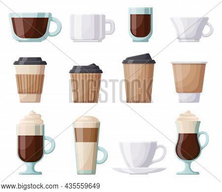 Coffee Hot Drink Cup, Ceramic, Plastic, Paper Coffee Cups. Hot Drinks Coffee Mugs, Cafe, Restaurant